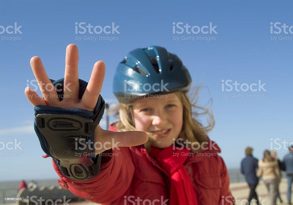 Stop! Skating girl royalty-free stock photo