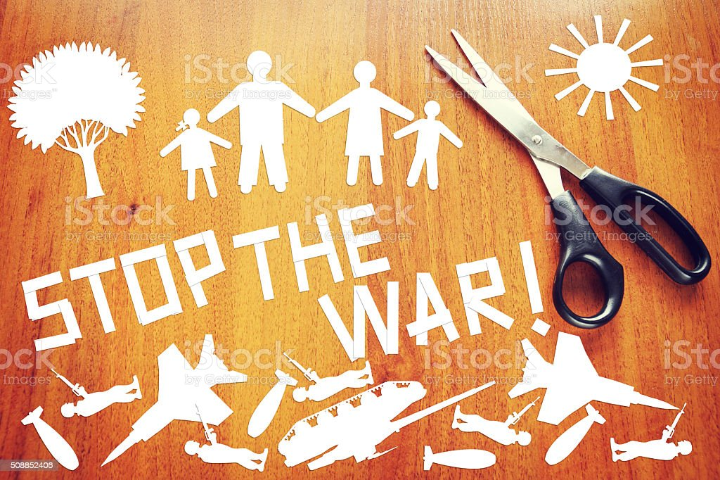 Stop the war stock photo