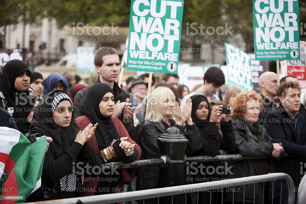 Stop the War protesters, London. stock photo