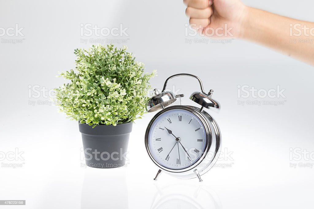 Stop this alarm clock from ringing stock photo