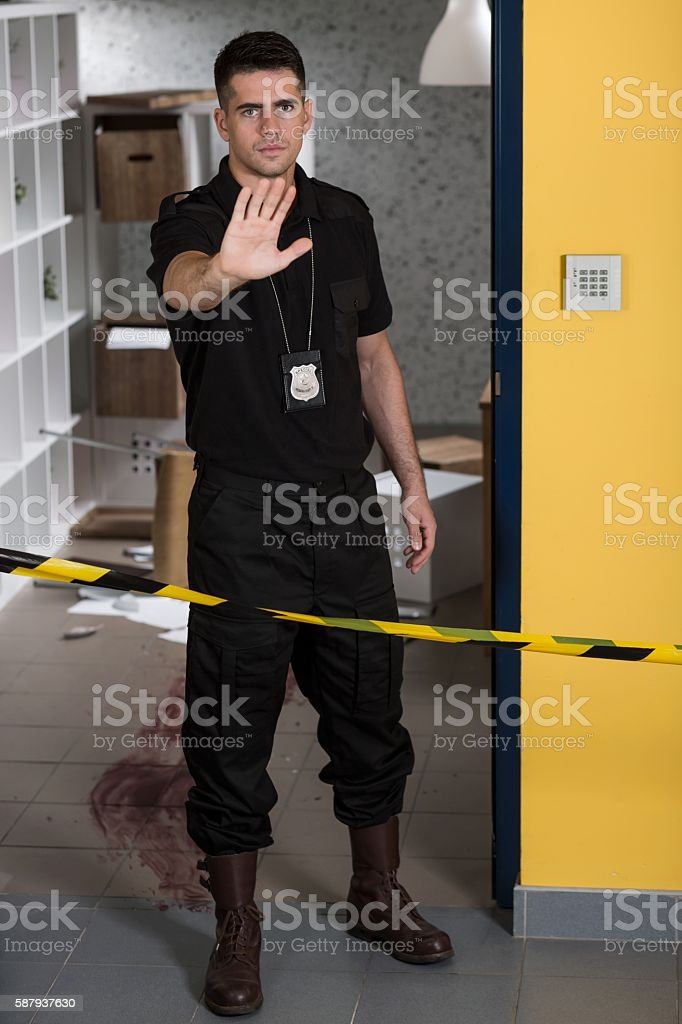 Stop! This is a crime scene! stock photo