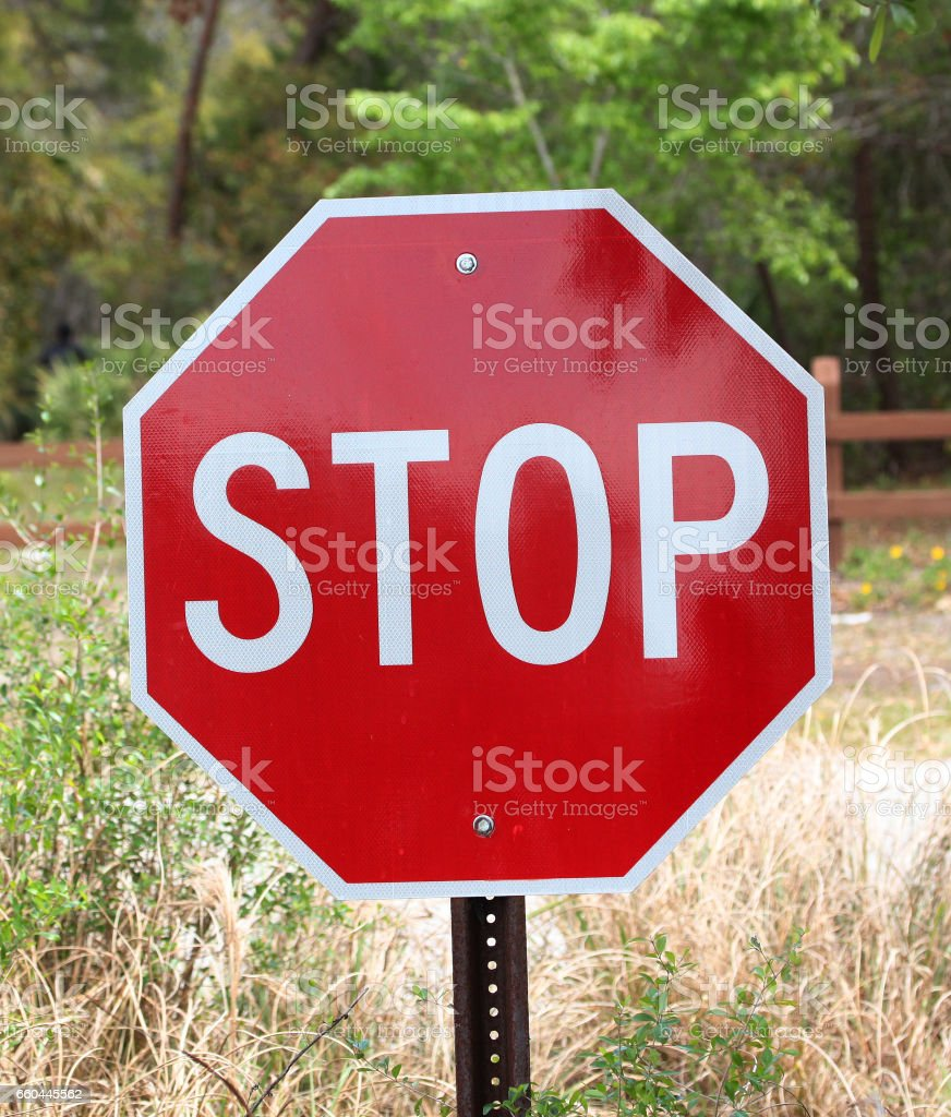 Stop traffic sign, front view stock photo