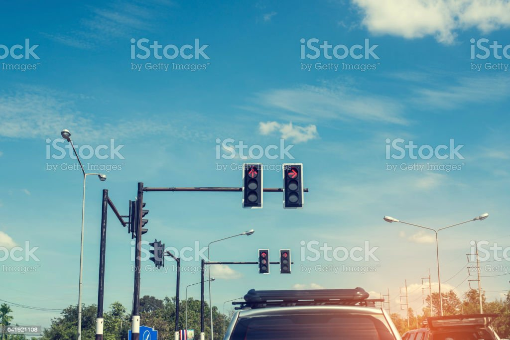 Stop waiting for red lights in traffic stock photo