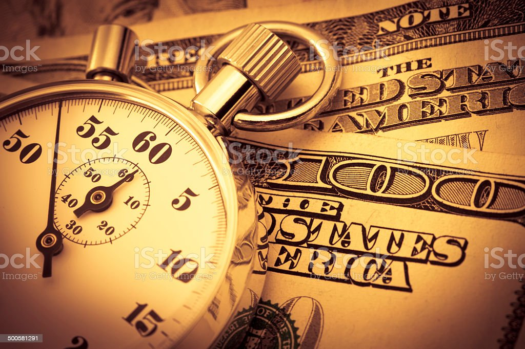 Stop watch and dollar royalty-free stock photo