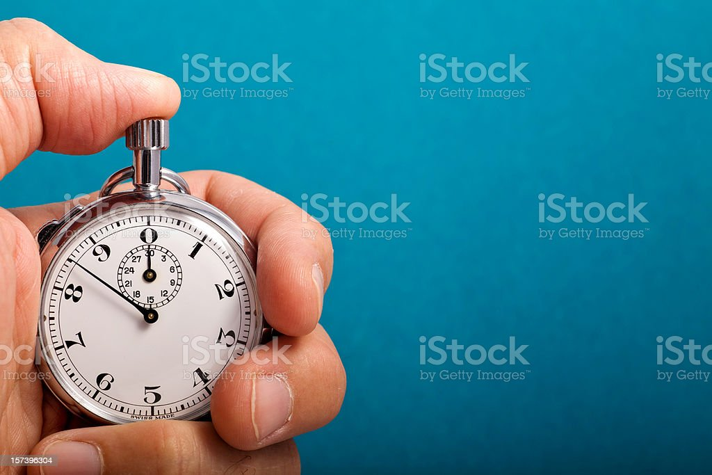 Stop Watch In Hand royalty-free stock photo
