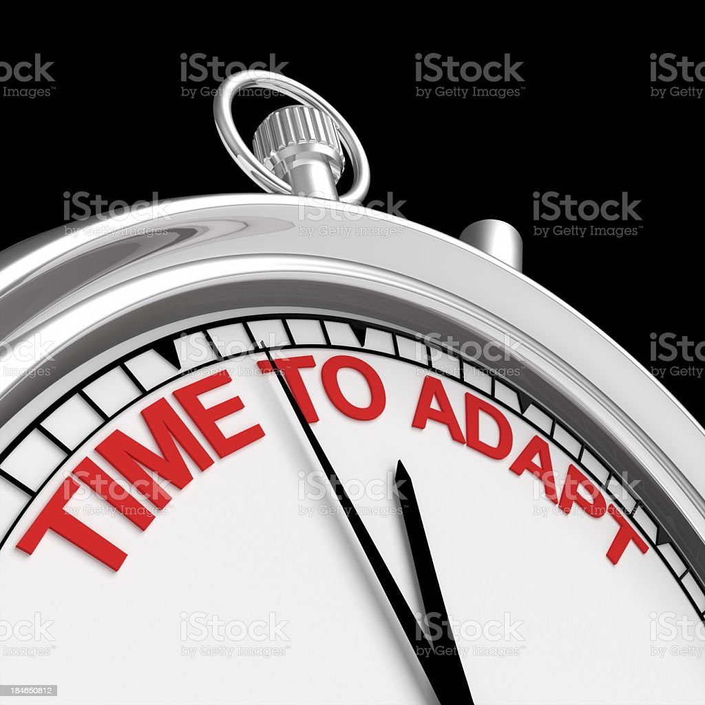A stop watch showing Time To Adapt in red letters on white royalty-free stock photo