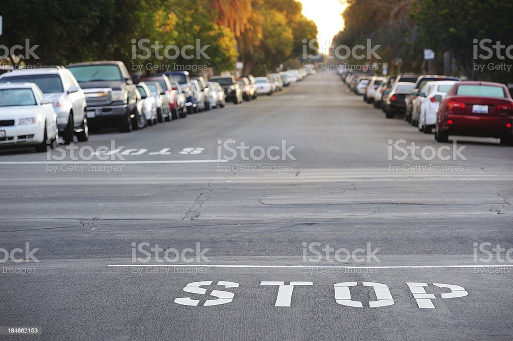 Stop word painted on street royalty-free stock photo