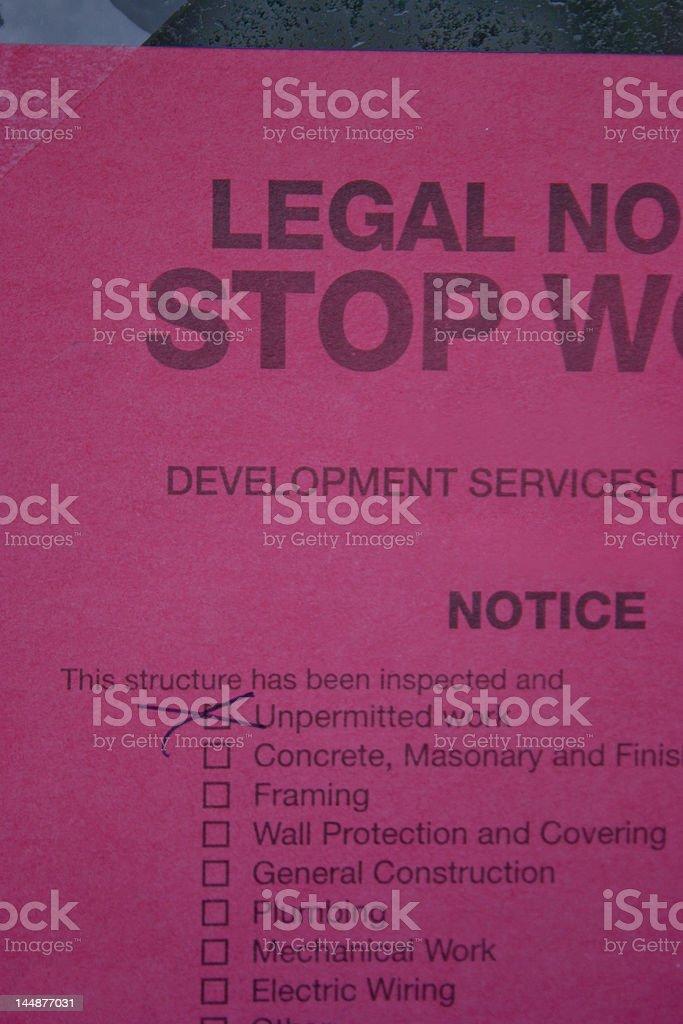 Stop Work Notice royalty-free stock photo