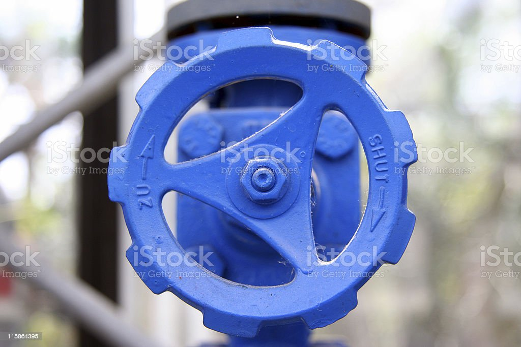 Stopcock in Blue stock photo