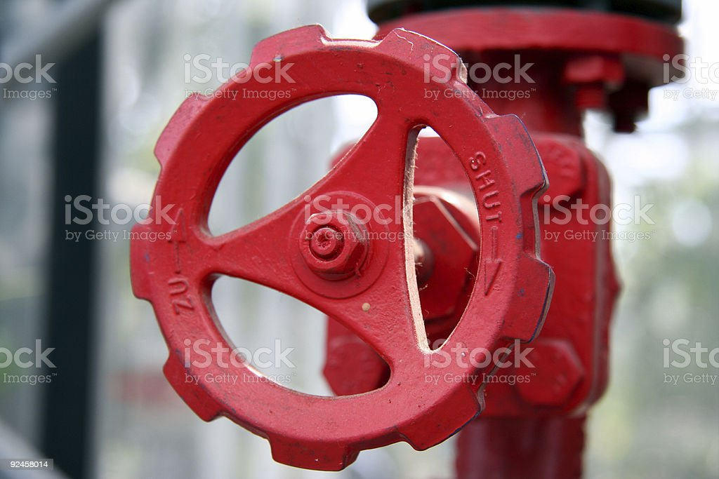 Stopcock in Red stock photo