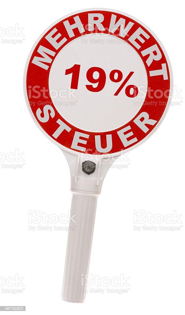 Stopkelle mit 19% stock photo