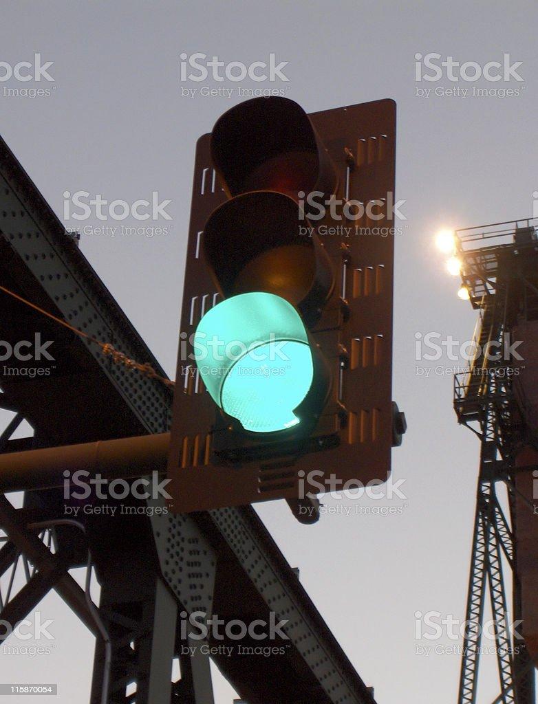 Stoplight on a Bridge at Dusk stock photo