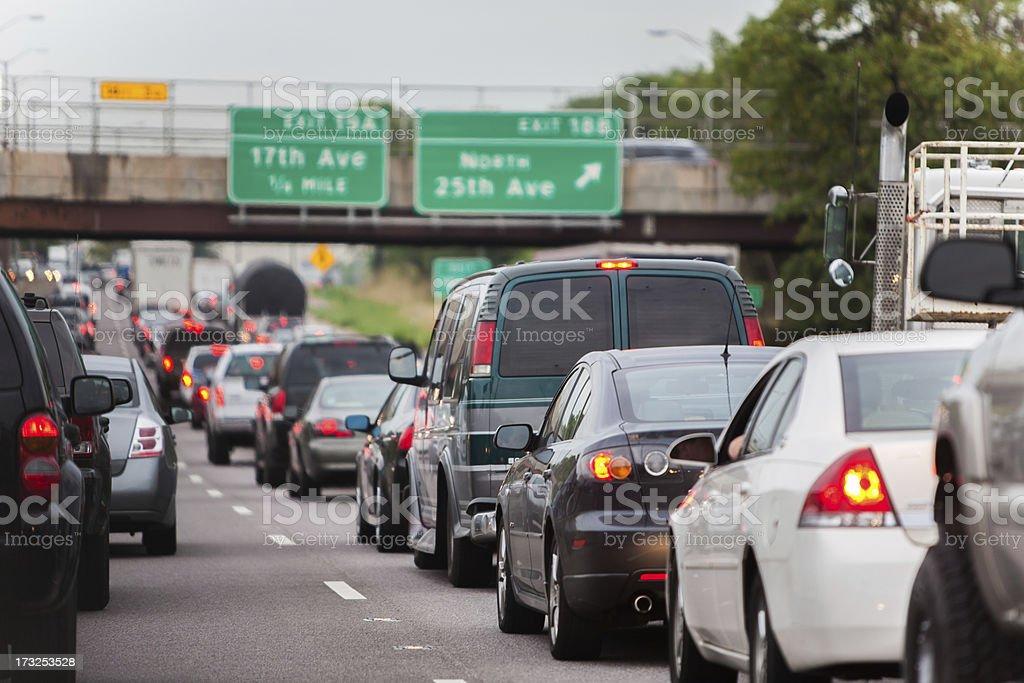 stopped inbound chicago traffic jam stock photo