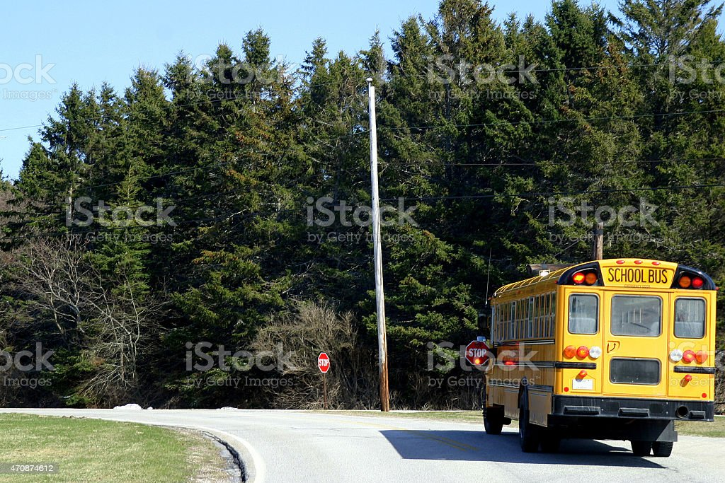 Stopped School Bus stock photo