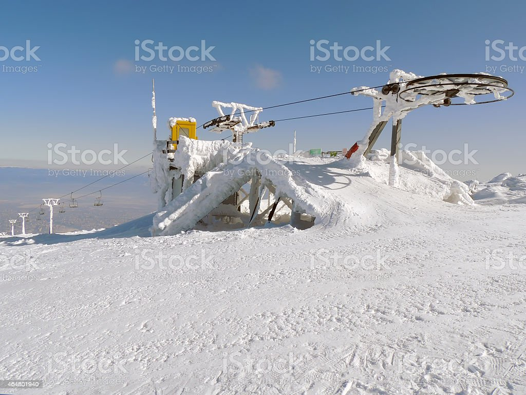 Stopped Ski Lift in Frost stock photo