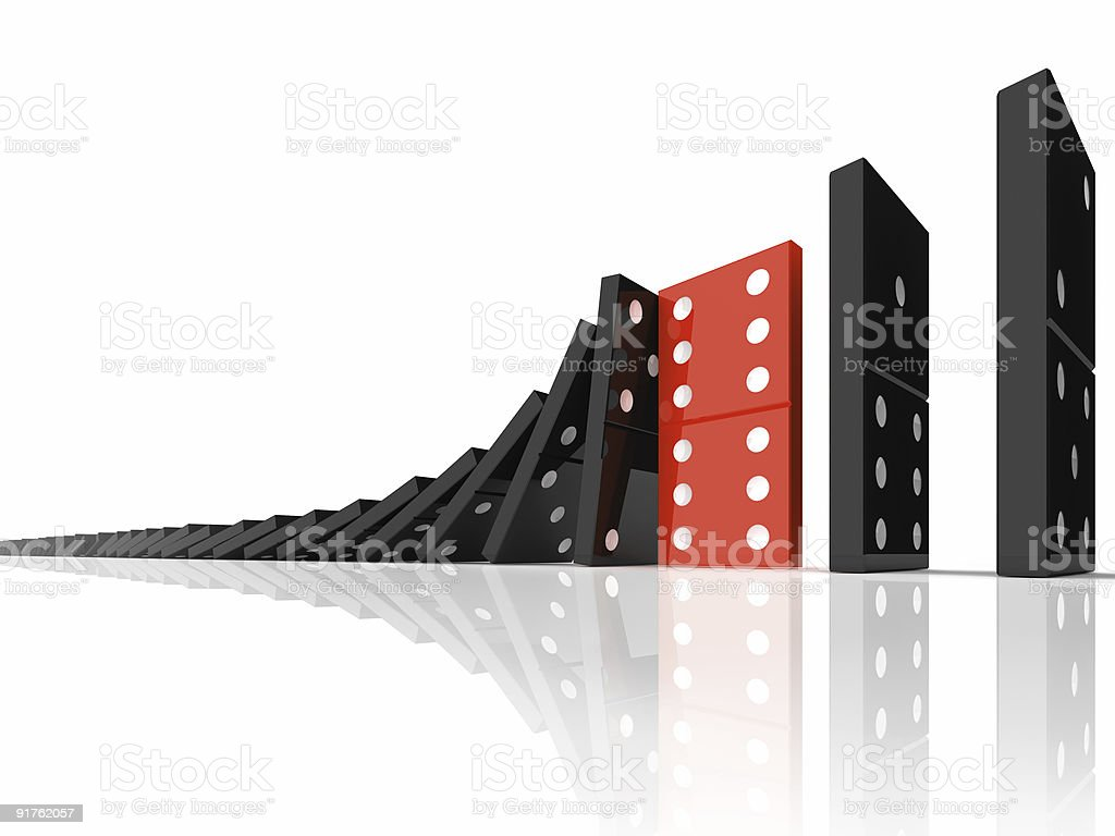 Stopping domino effect! Failure succes. stop chain reaction. stock photo