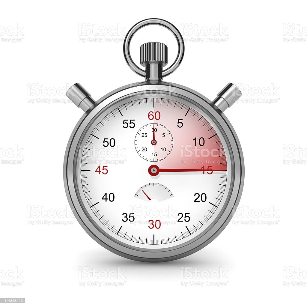 Stopwatch. 15 seconds royalty-free stock photo