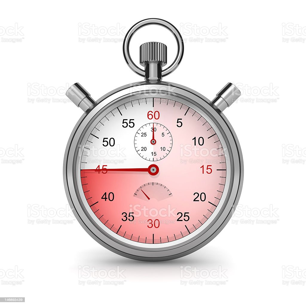 Stopwatch. 45 seconds. royalty-free stock photo