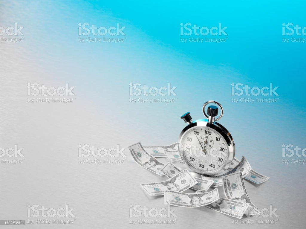 Stopwatch and American Dollars on Stainless Steel royalty-free stock photo
