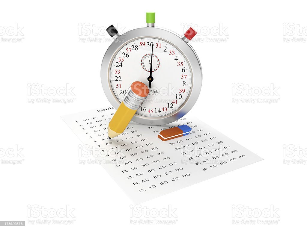 Stopwatch and answer sheet stock photo