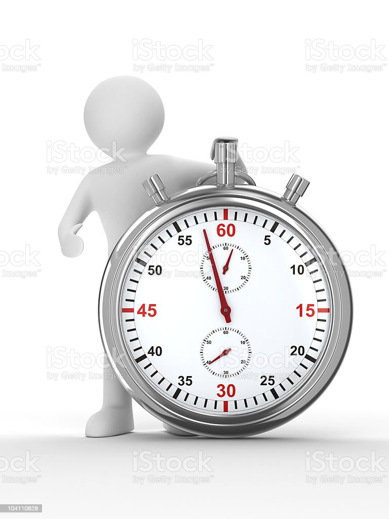 Stopwatch and man on white background. Isolated 3D image royalty-free stock photo