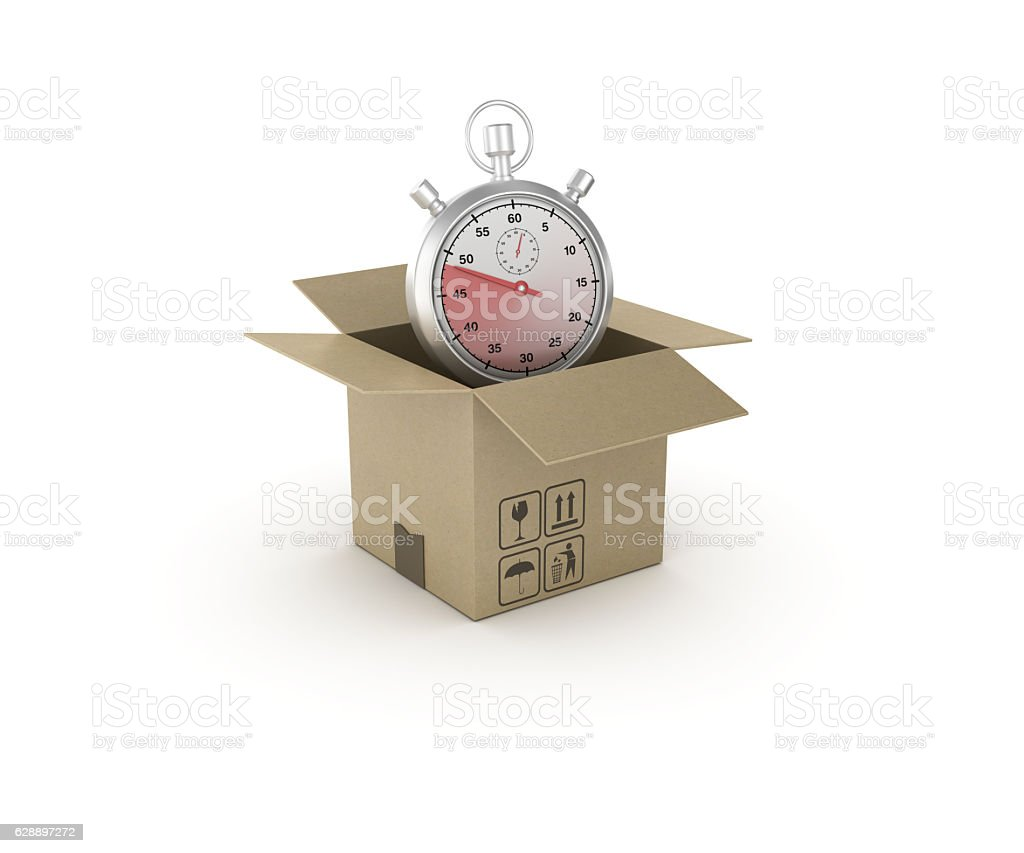 Stopwatch and Open CardBoard Box  - 3D Rendering stock photo