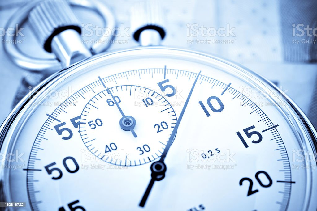 stopwatch closeup with high contrast stock photo
