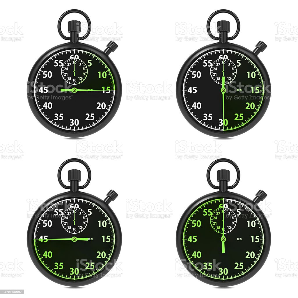Stopwatch - Green Timers. Set on White. royalty-free stock photo