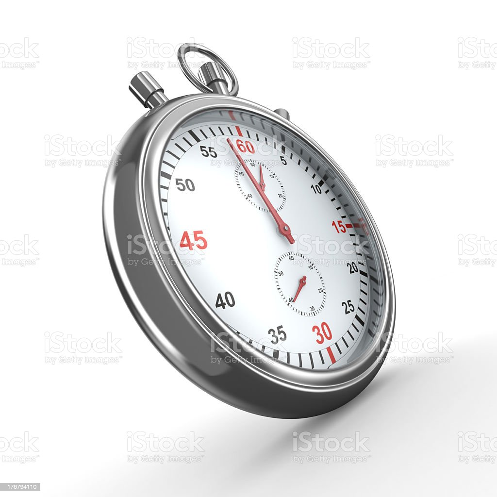 3D stopwatch icon on a white background royalty-free stock photo