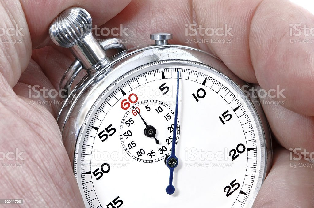 Stopwatch in a hand royalty-free stock photo