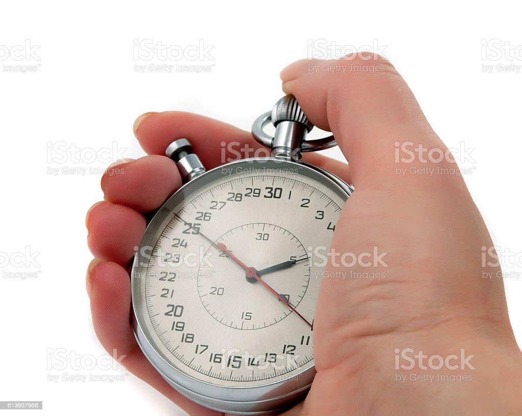 Stopwatch in hand stock photo