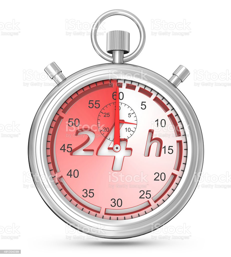 Stopwatch - Opening Concept 24 Hrs stock photo