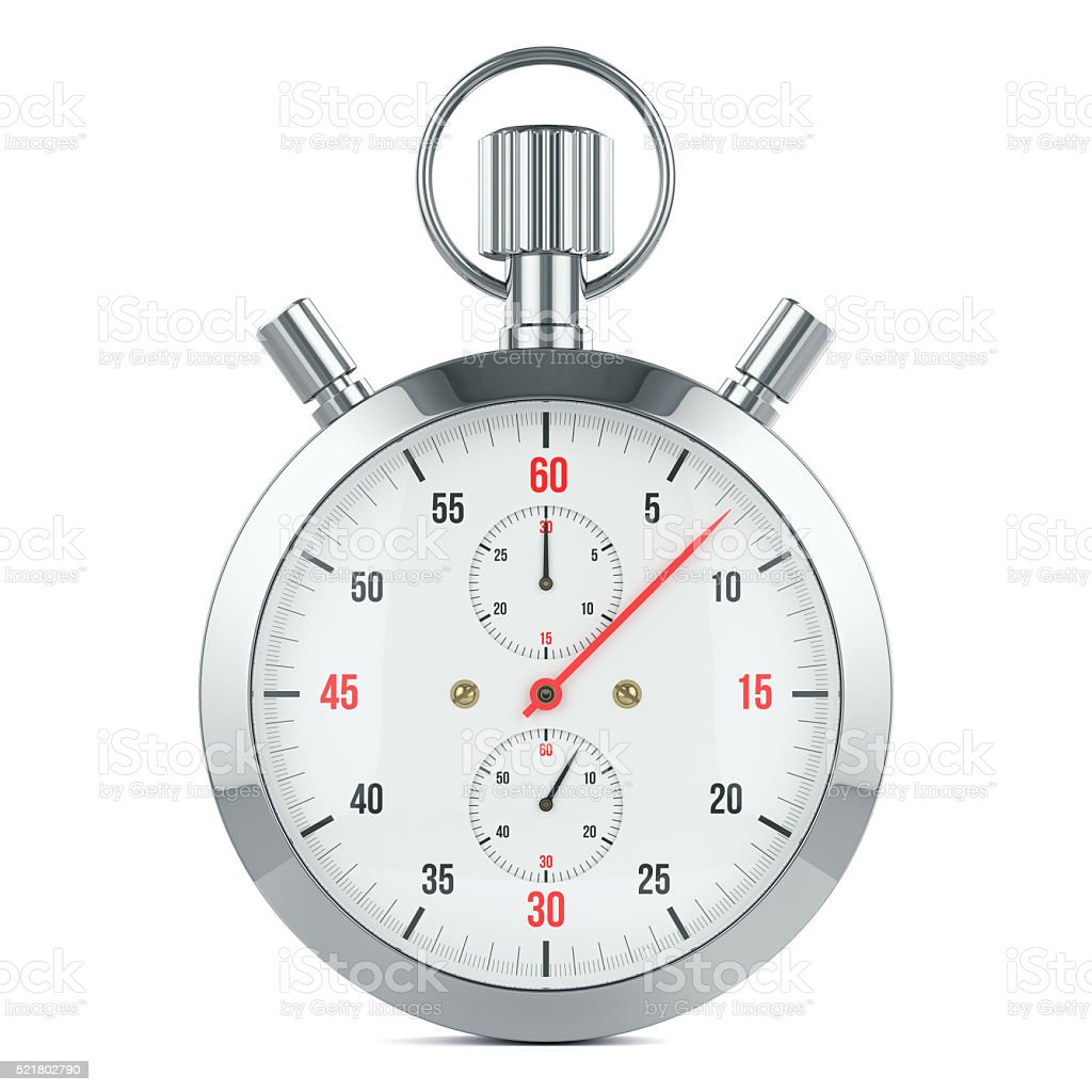Stopwatch timer, contdown. Isolated on white background 3d stock photo