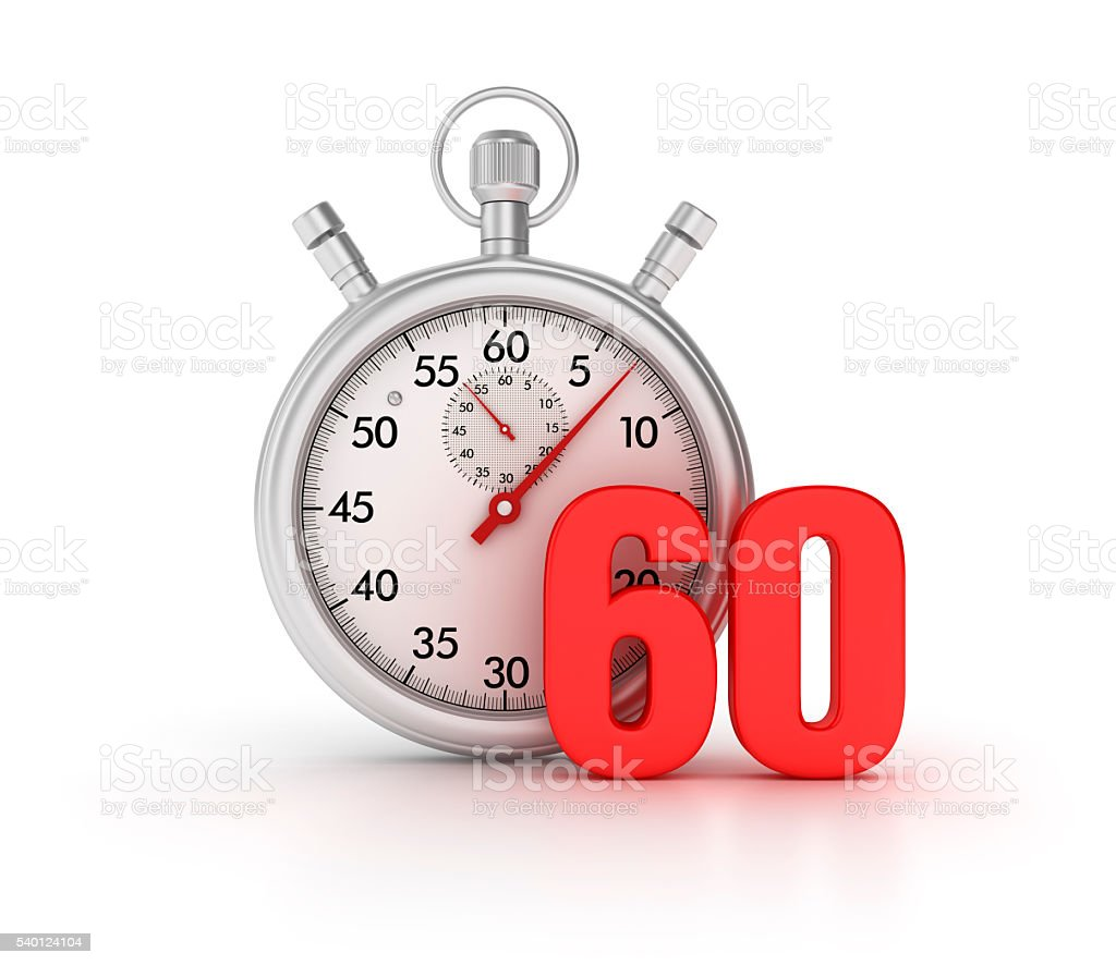 Stopwatch with 60 Number on White Background stock photo