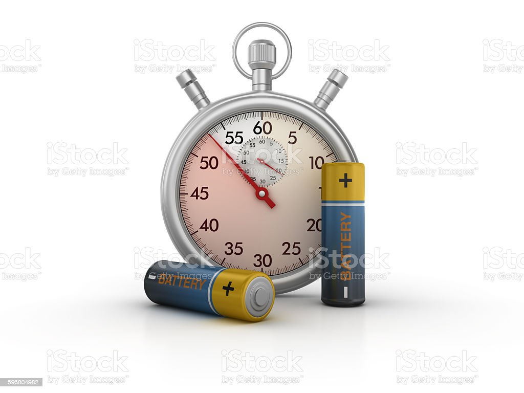Stopwatch with AA Batteries stock photo