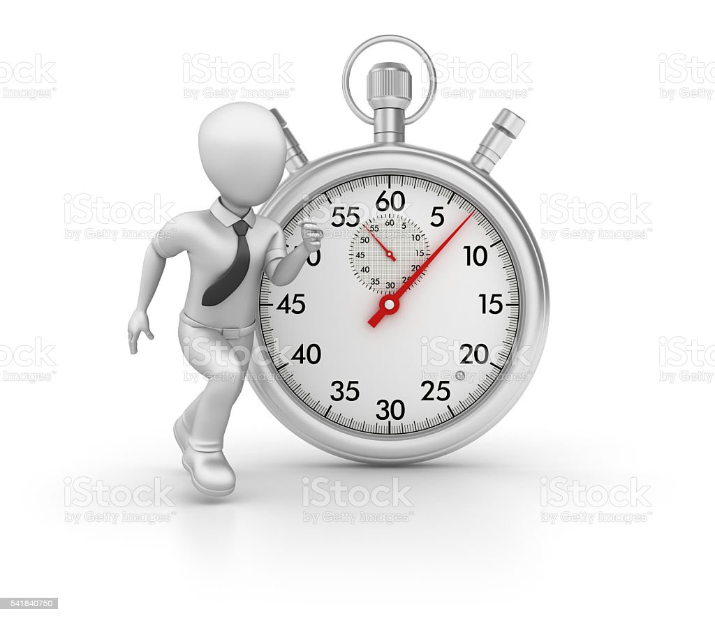 Stopwatch with Business Character Running on White Background stock photo