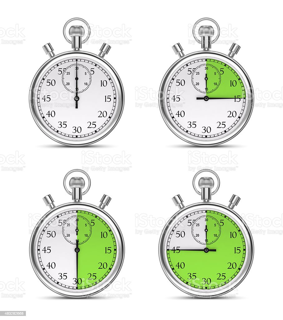 Stopwatch with different time intervals on a white background. royalty-free stock photo