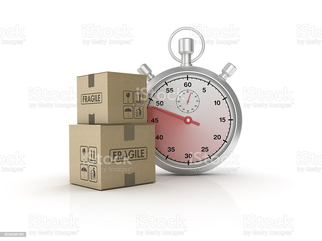 Stopwatch with Hand Truck Carrying Cardboard Boxes - 3D Rendering stock photo