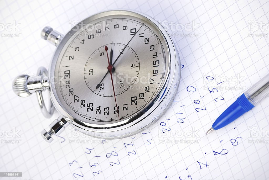 Stopwatch with measurement results royalty-free stock photo