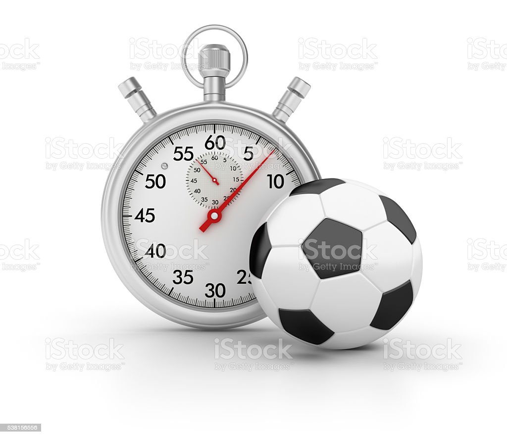 Stopwatch with Soccer Ball on White Background stock photo