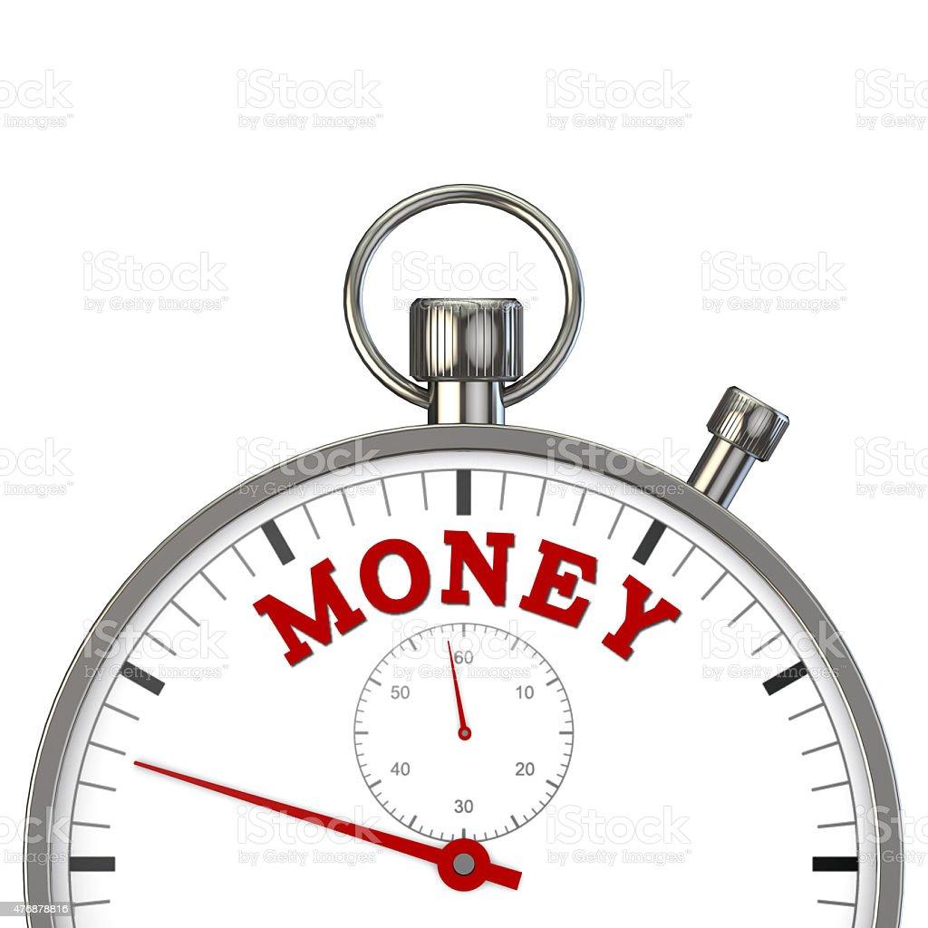 stopwatch with word money stock photo