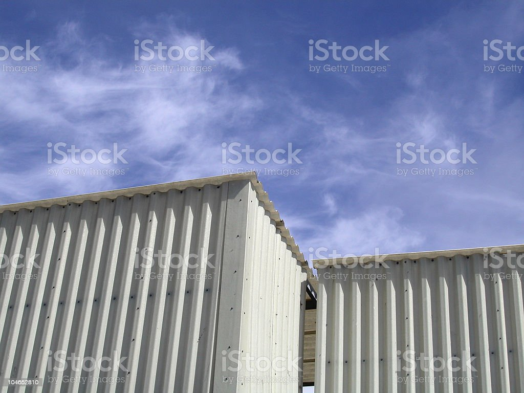 Storage container sheds and sky royalty-free stock photo