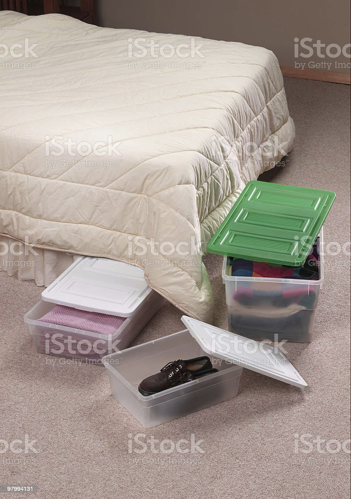 storage containers in bedroom royalty-free stock photo
