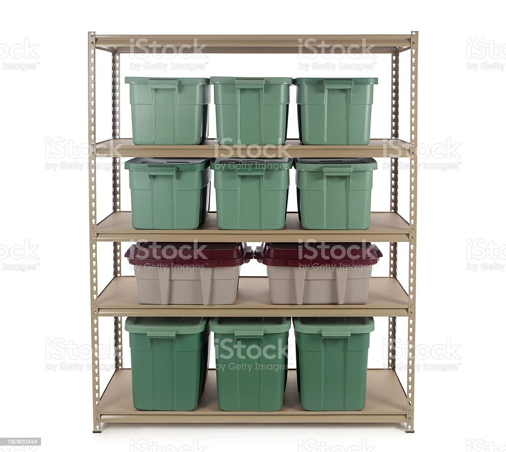 Storage Containers on Shelf royalty-free stock photo