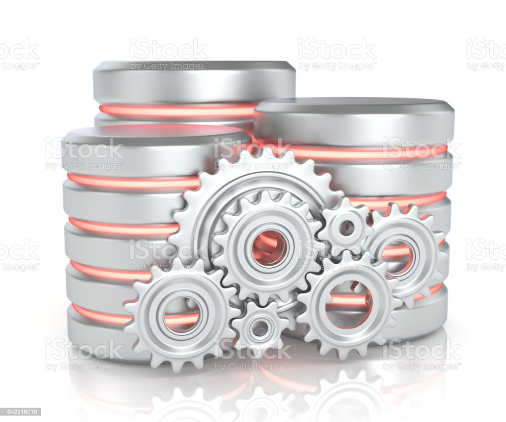 Storage database and gears stock photo