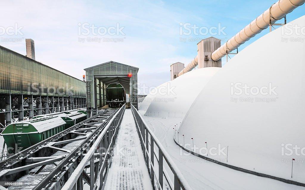 Storage dome for  fertilizers. stock photo