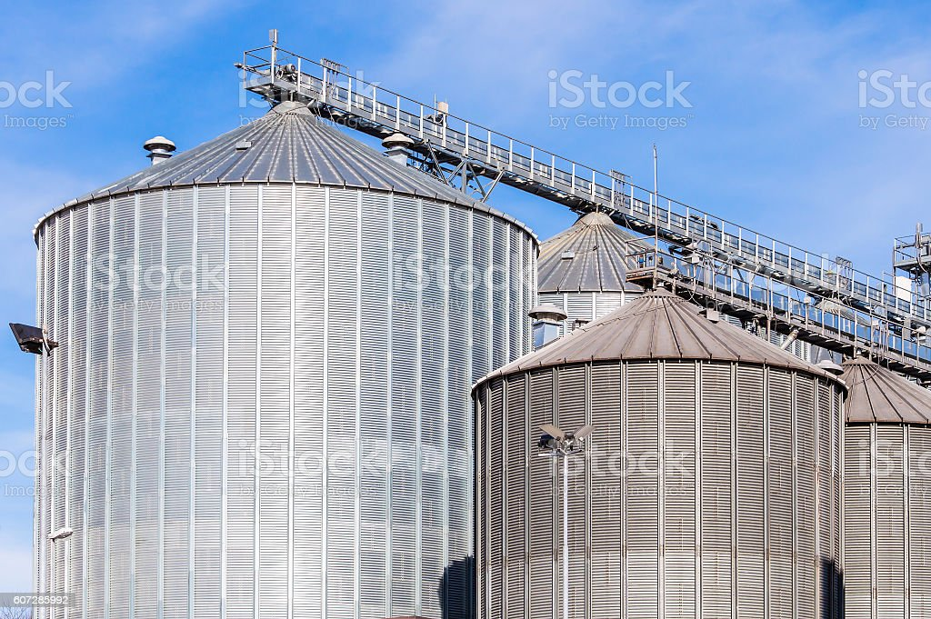 Storage facility cereals, and bio gas production stock photo