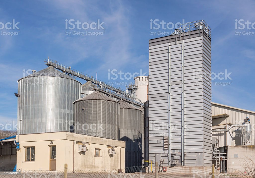 Storage facility cereals, and biogas production stock photo