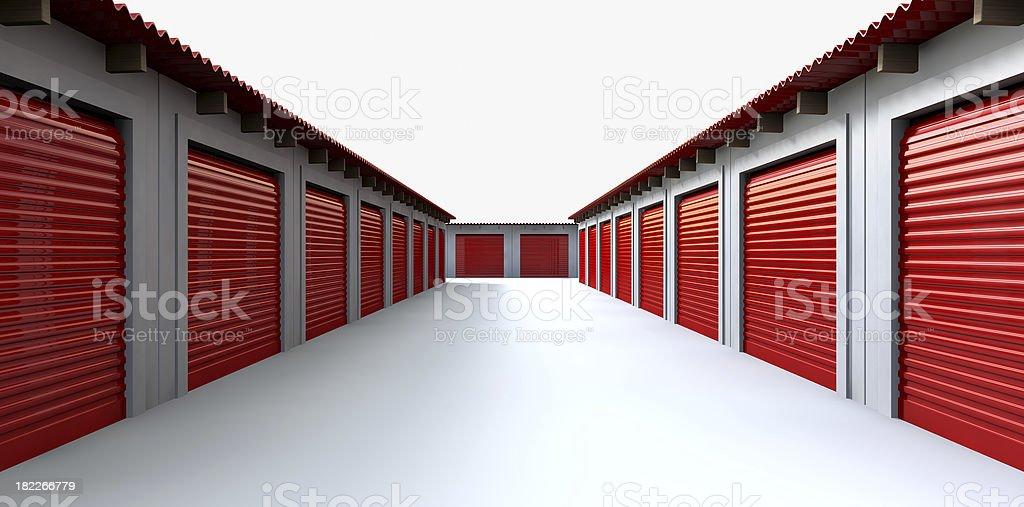 Storage Lockers Perspective stock photo
