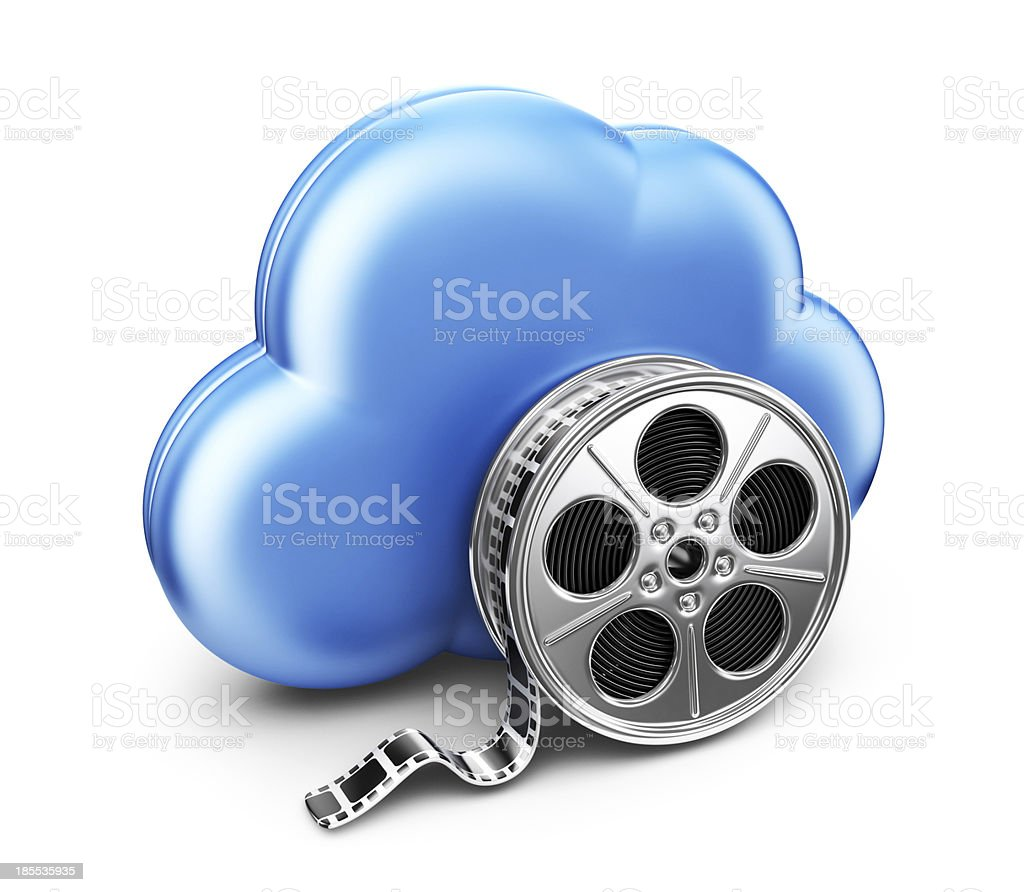 Storage movie film in cloud. 3D Icon isolated stock photo
